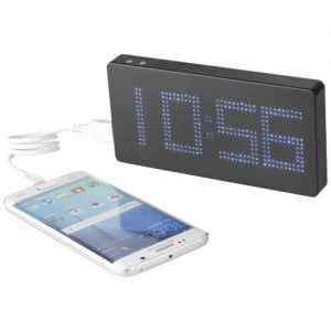Relatiegeschenk Clok powerbank 8000 mAh met LED display en klok - Zwart